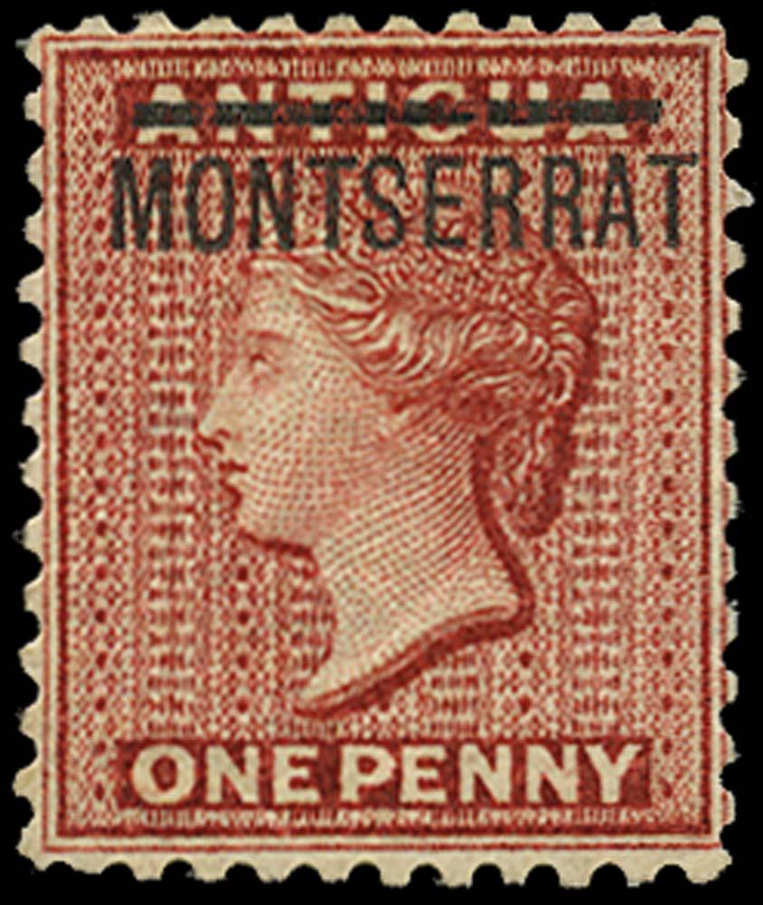 MONTSERRAT 1883  SG6a Mint 1d inverted S in MONTSERRAT