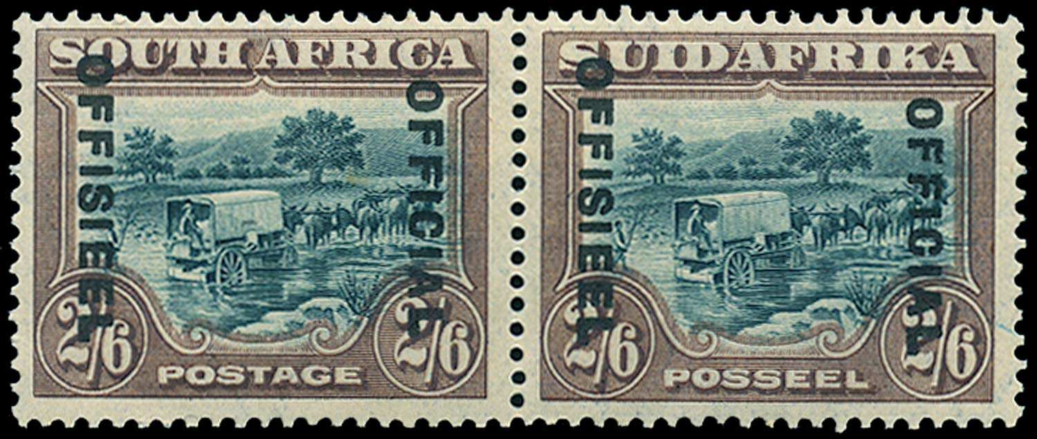 SOUTH AFRICA 1929  SGO11 var Official 2s6d green and brown Dropped OFFICIAL