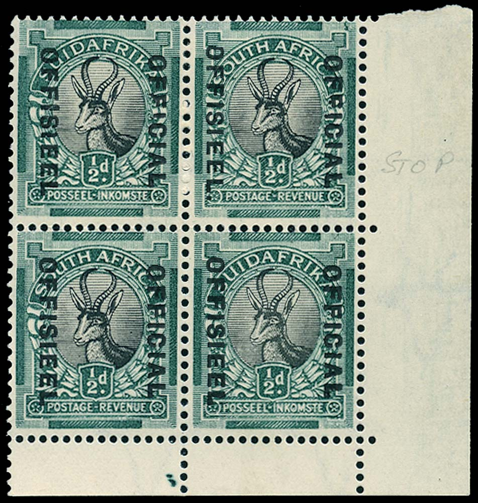 SOUTH AFRICA 1931  SGO12a Official ½d black and green Stop after OFFISIEEL