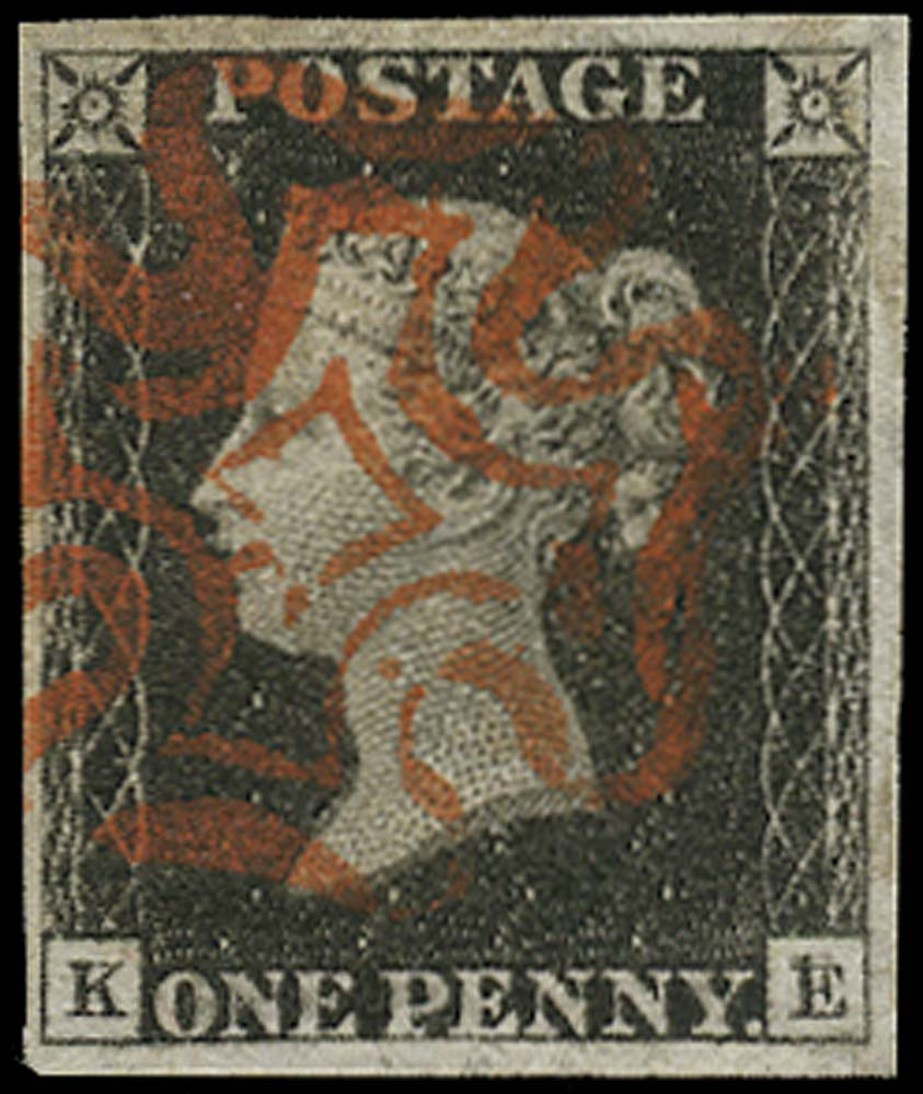 GB 1840  SG2 Pl.2 Penny Black Double letter