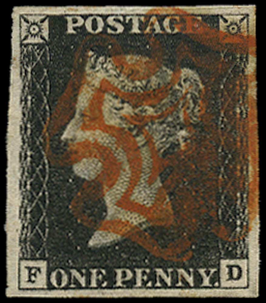 GB 1840  SG1 Pl.4 Penny Black used red MC (FD)