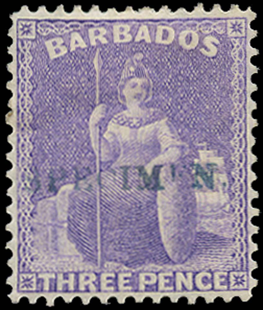BARBADOS 1875  SG75s Specimen