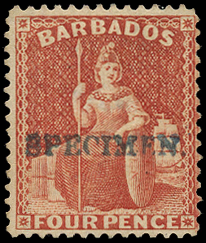 BARBADOS 1875  SG76s Specimen