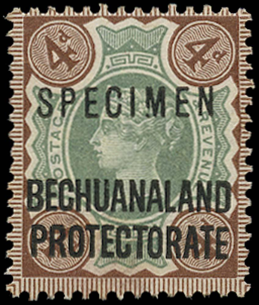 BECHUANALAND 1897  SG64s var Specimen 4d Broken M