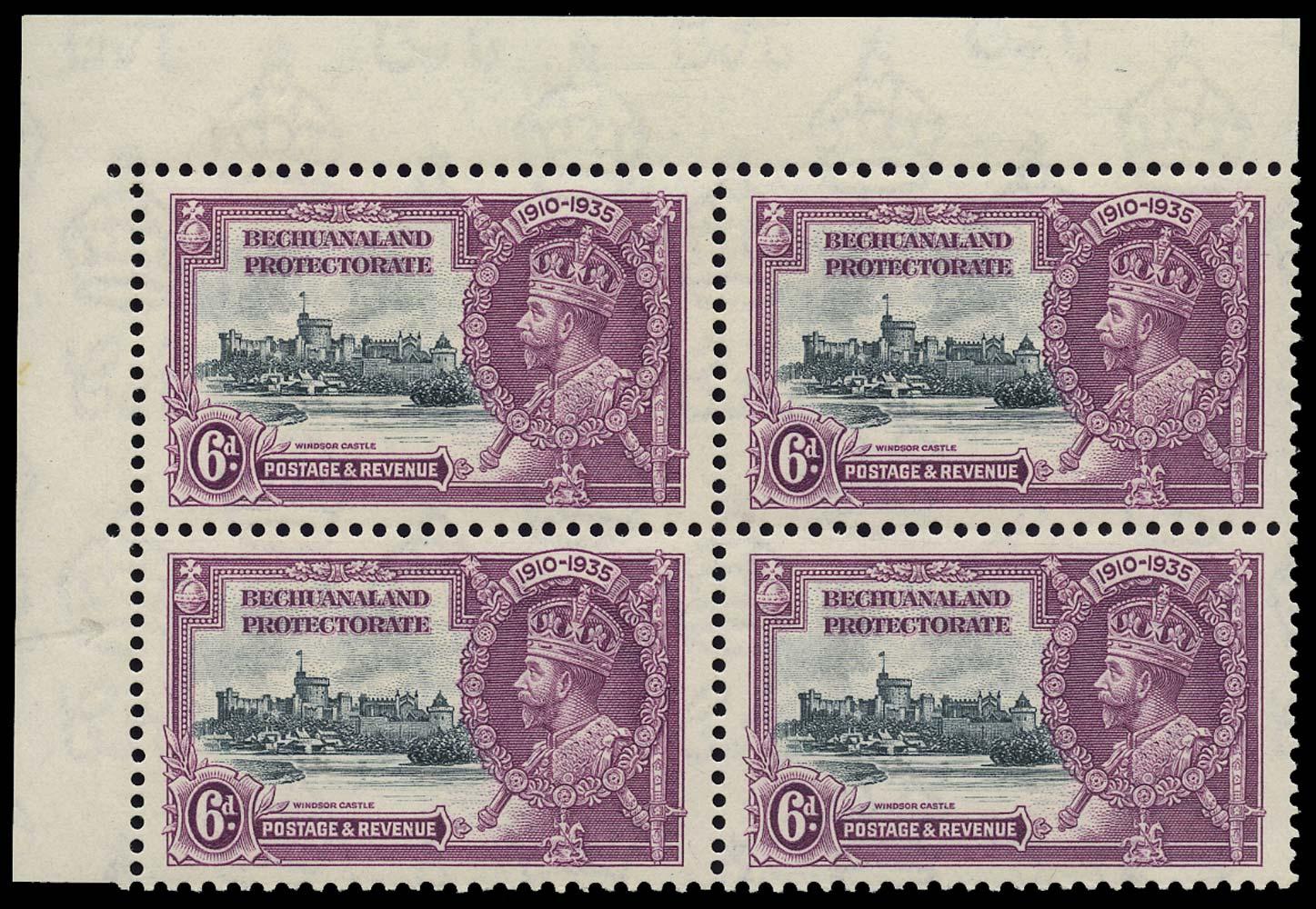 BECHUANALAND 1935  SG114/b Mint 6d Short Extra Flagstaff
