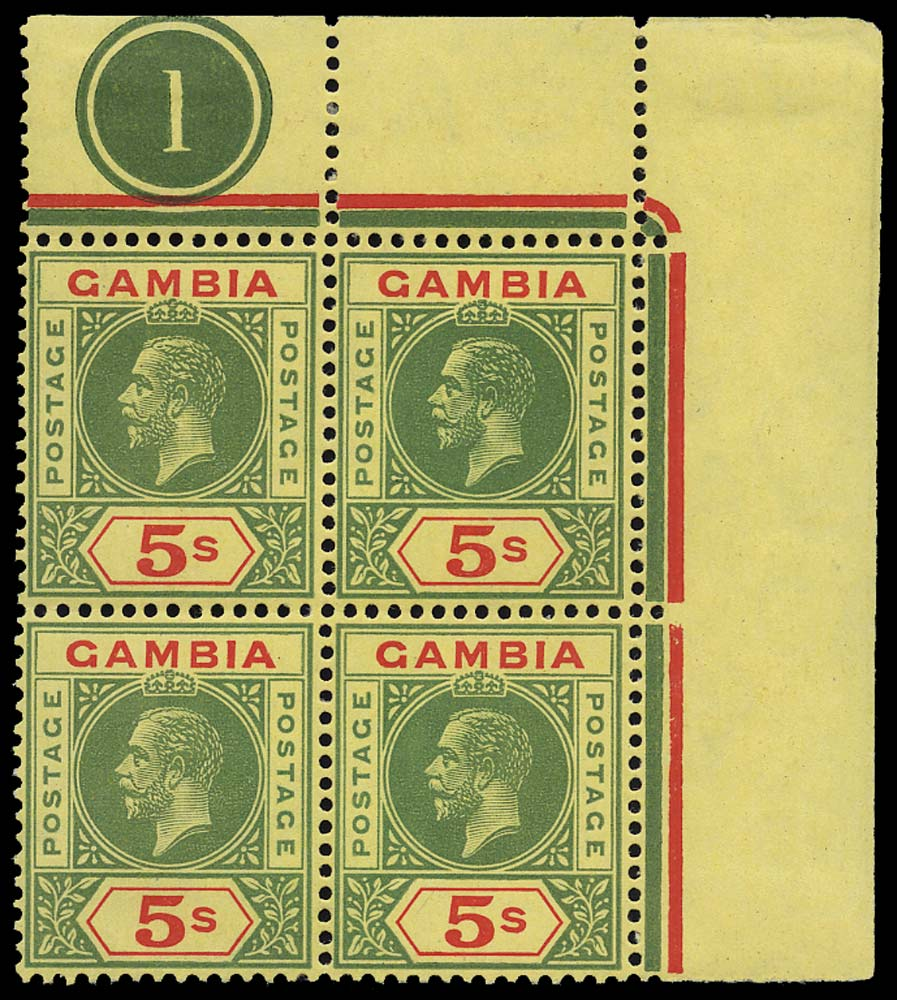 GAMBIA 1912  SG102 Mint 5s plate block