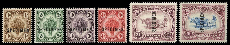 MALAYA - KEDAH 1919  SG15s/23s Specimen