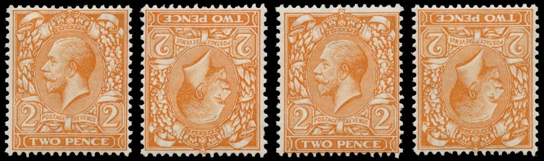 GB 1912  SG366wi,wj,wk Mint Upright, Inv, Rev and Inv & Rev