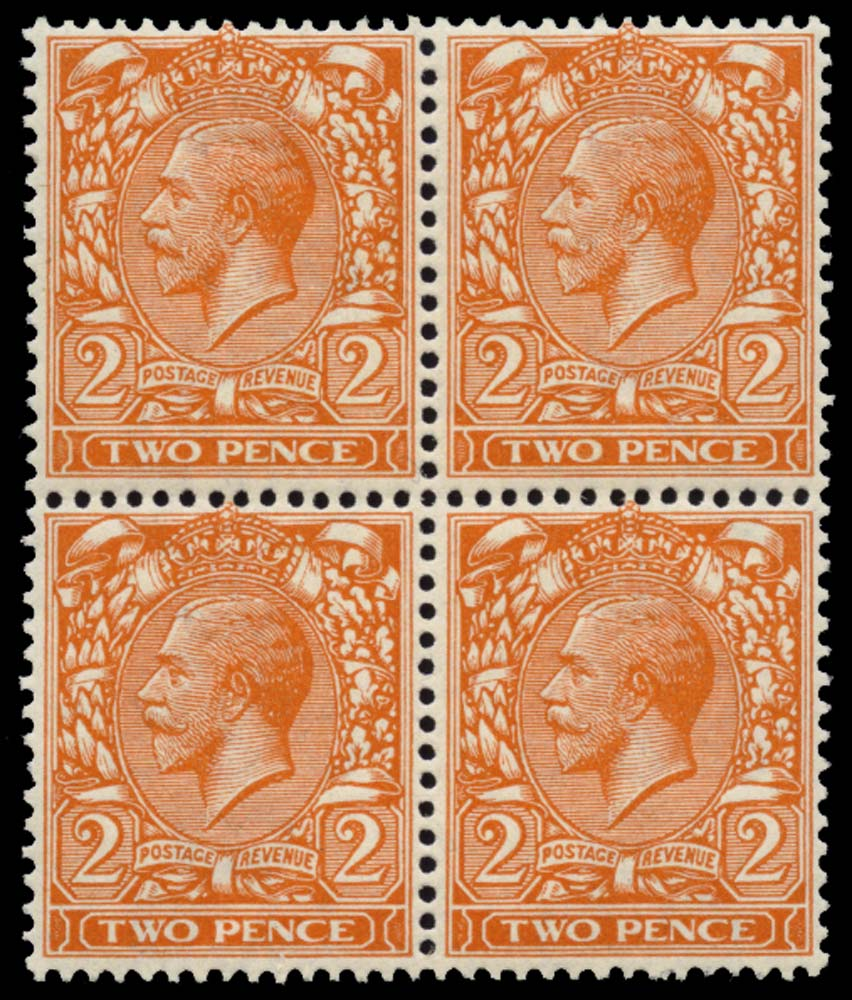 GB 1921  SG370 Mint Block four, frame break variety