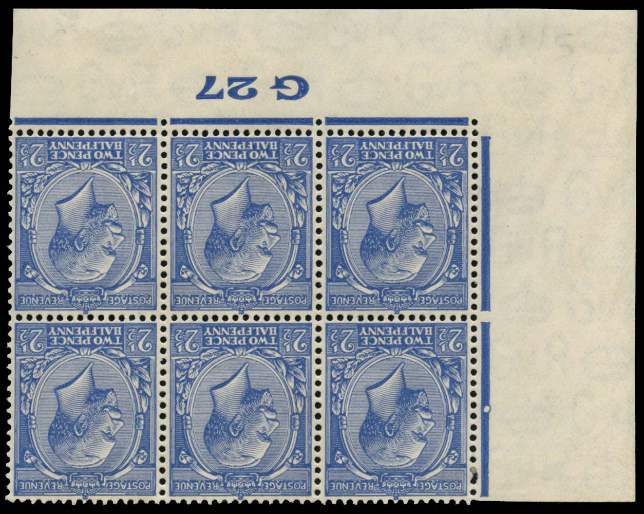 GB 1927  SG422wi Mint watermark inverted G27 control block