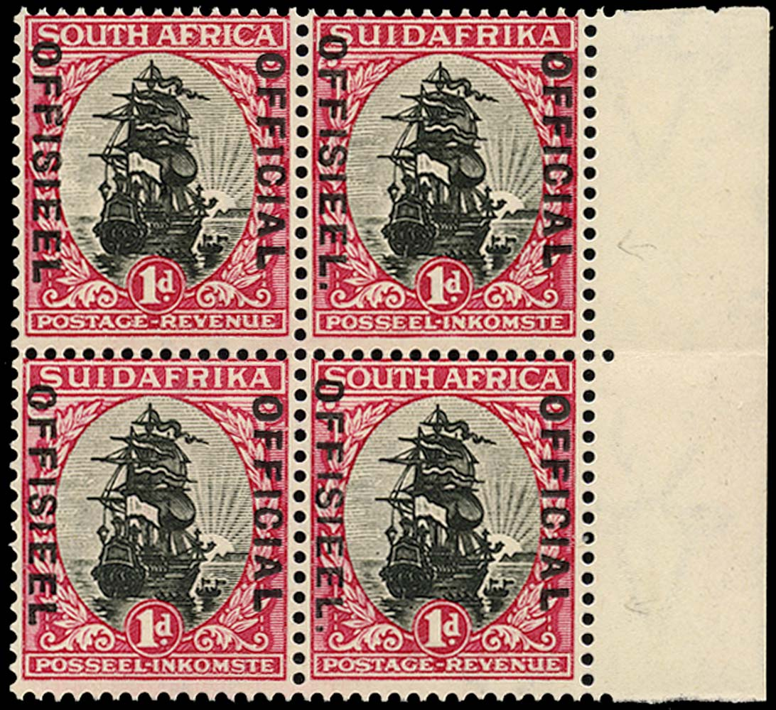 SOUTH AFRICA 1930  SGO13a/b Official 1d black and carmine Stop after OFFISIEEL