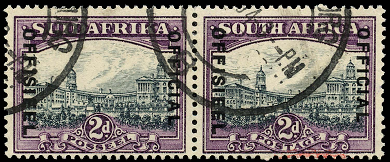 SOUTH AFRICA 1934  SGO14w Official 2d slate-grey and lilac watermark inverted