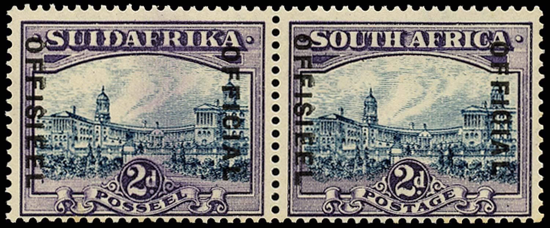 SOUTH AFRICA 1938  SGO15 Official 2d spot in lower left corner