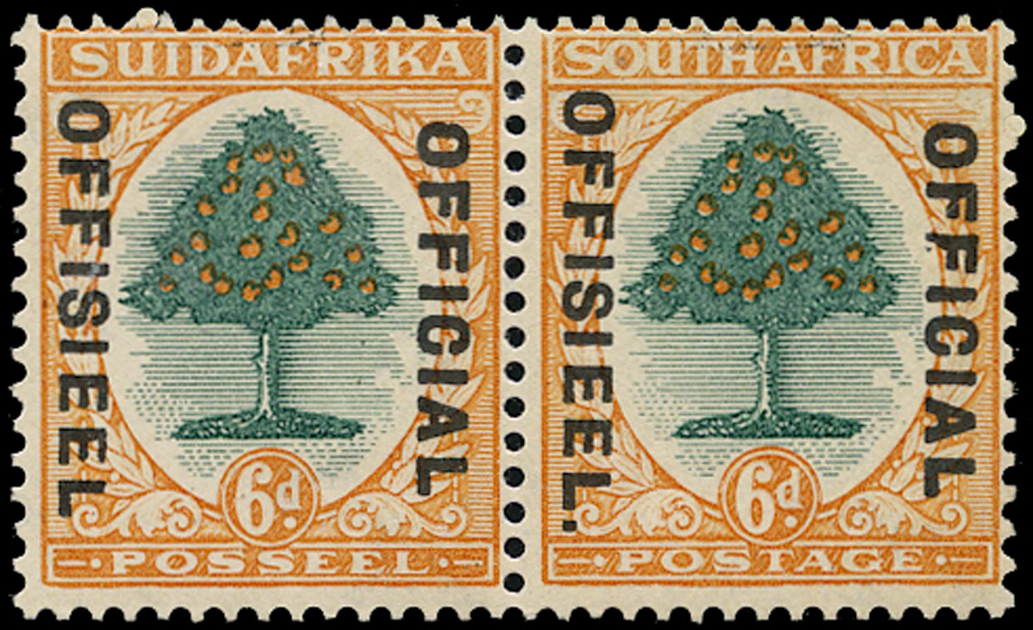 SOUTH AFRICA 1931  SGO16a Official 6d green and orange Stop after OFFISIEEL
