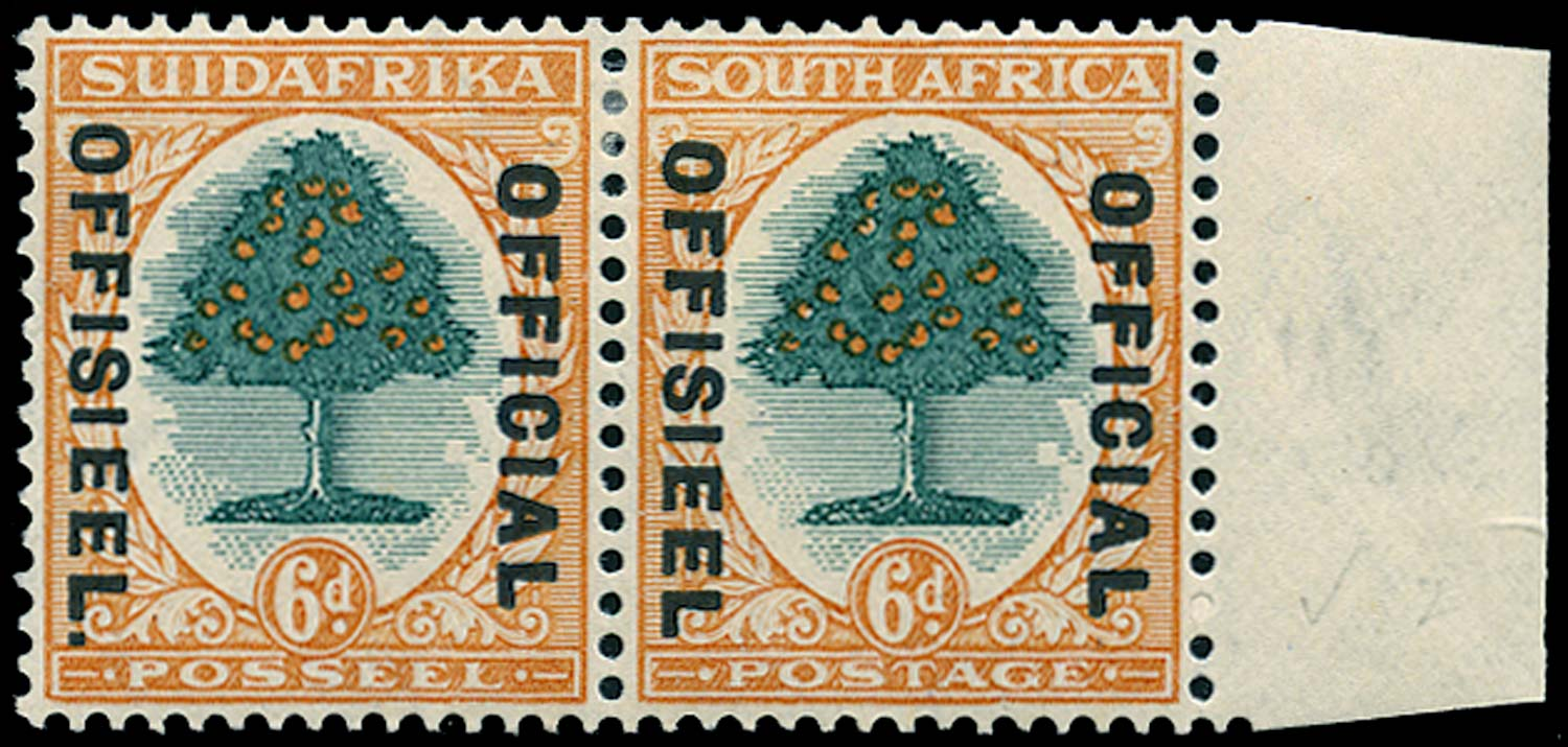 SOUTH AFRICA 1931  SGO16b Official 6d green and orange Stop after OFFISIEEL