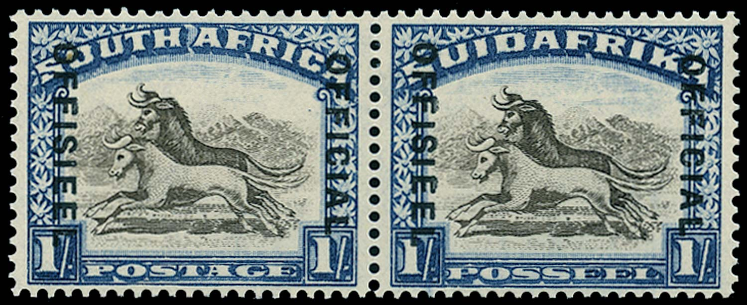 SOUTH AFRICA 1936  SGO17bw Official 1s brown and deep blue wmk upright