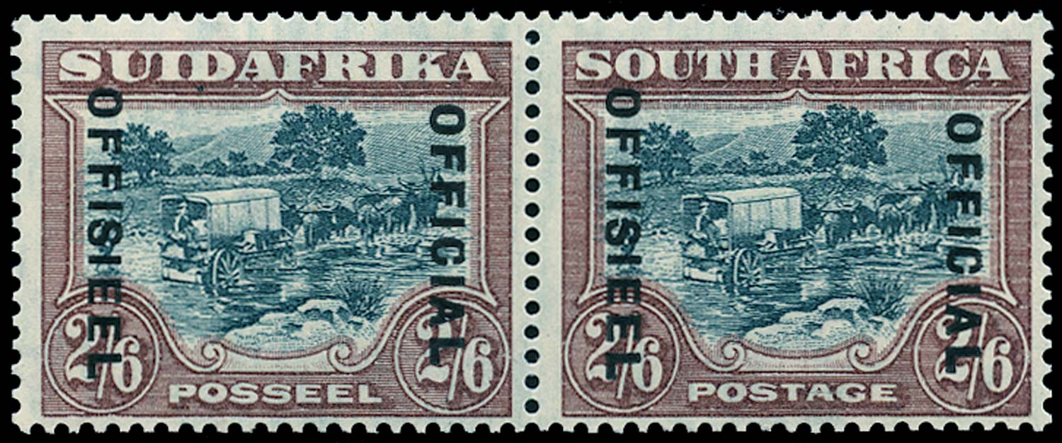 SOUTH AFRICA 1933  SGO18 Official 2s6d green and brown narrow spacing