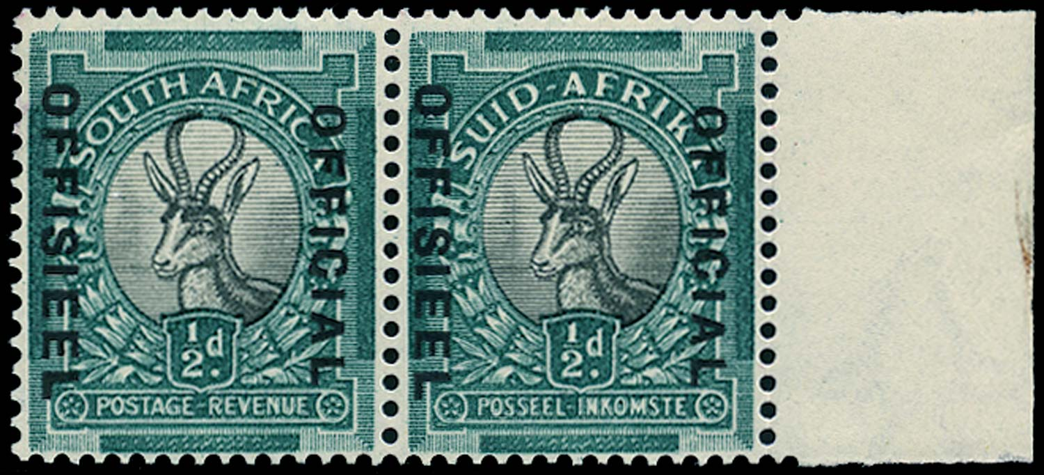 SOUTH AFRICA 1936  SGO20 Official ½d grey and green watermark inverted