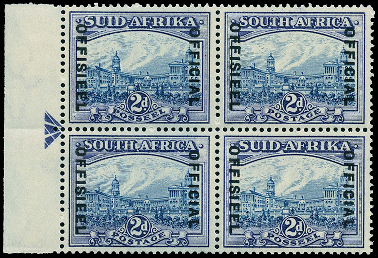 SOUTH AFRICA 1939  SGO23 Official 2d blue and violet