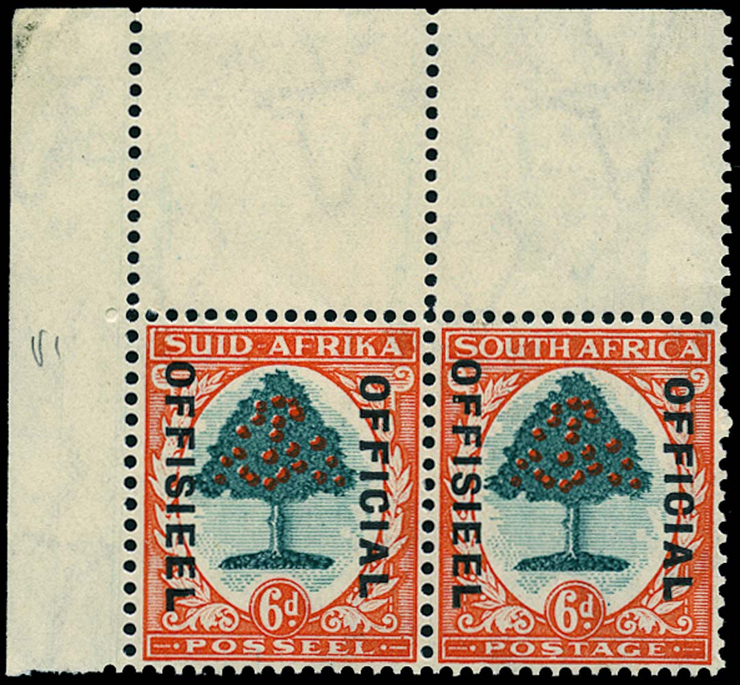 SOUTH AFRICA 1937  SGO24 Official 6d green and vermilion die I unmounted