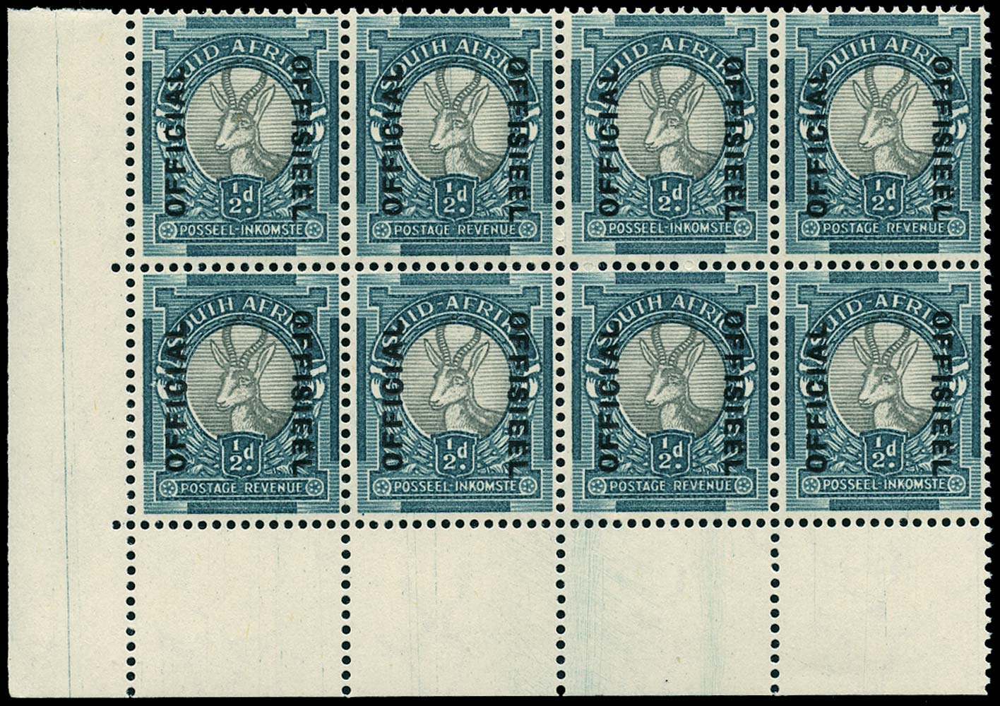 SOUTH AFRICA 1944  SGO32 Official ½d grey and blue-green type O5 overprint