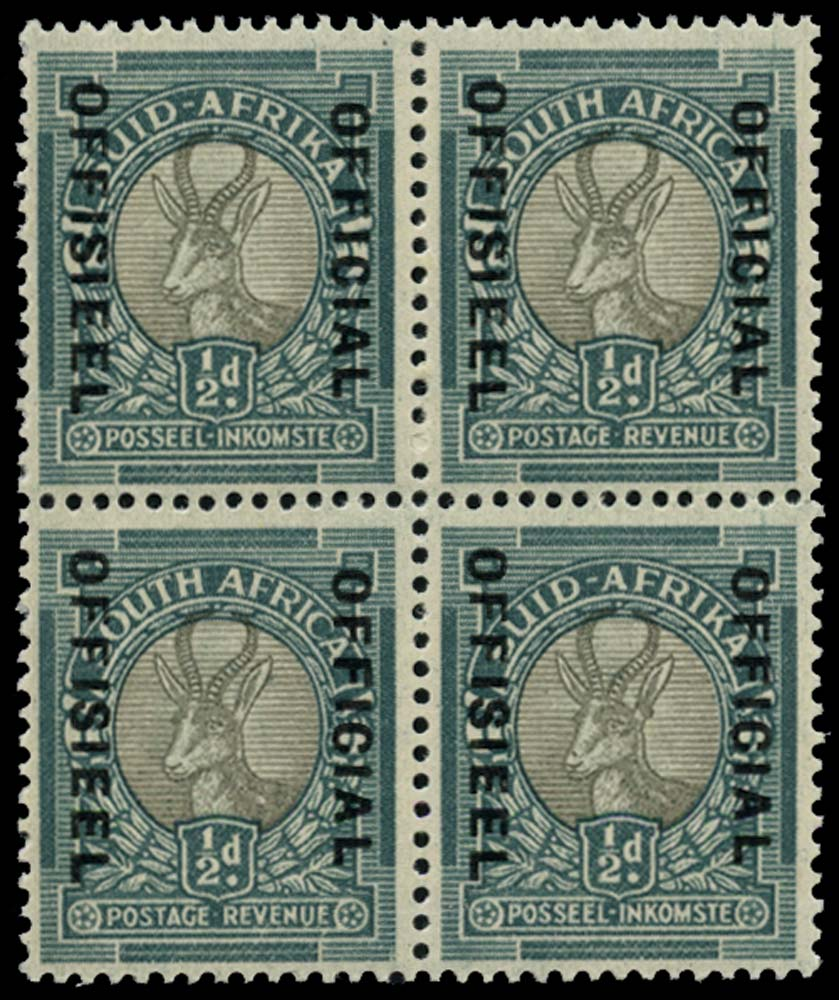 SOUTH AFRICA 1949  SGO37a Official ½d Tick flaw and spot on nose