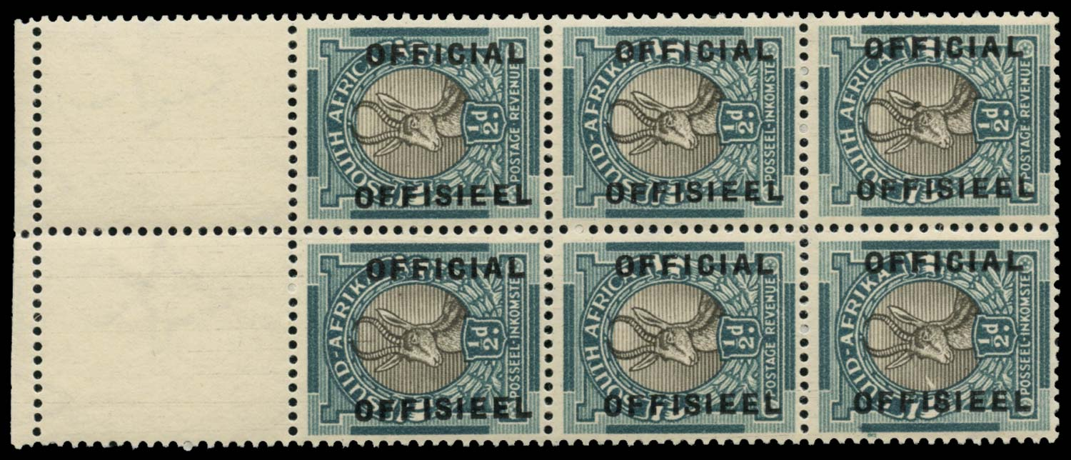 SOUTH AFRICA 1949  SGO37ba Official ½d Tick flaw and spot on nose