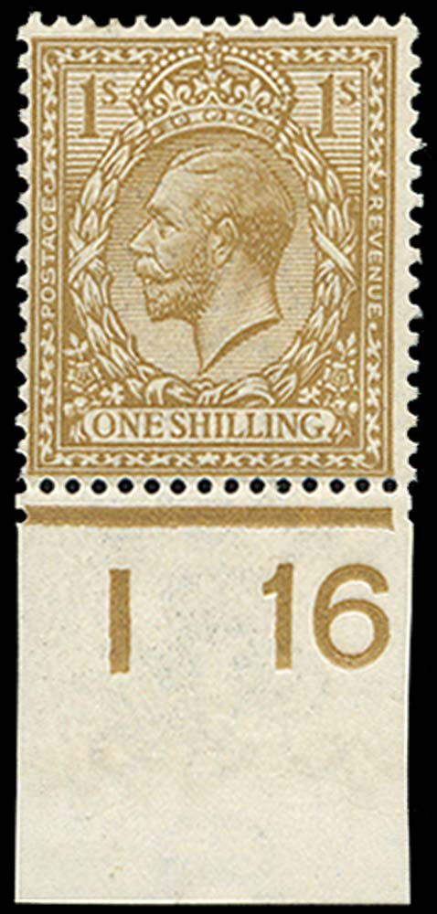 GB 1916  SG395var Mint Fawn-brown M/M I16 Control
