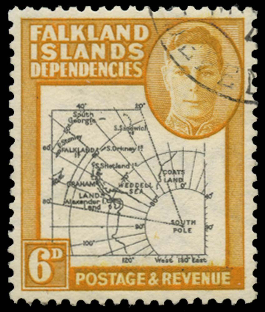 FALKLAND ISLAND DEPS 1946  SGG6e Used Thick map 6d black and ochre