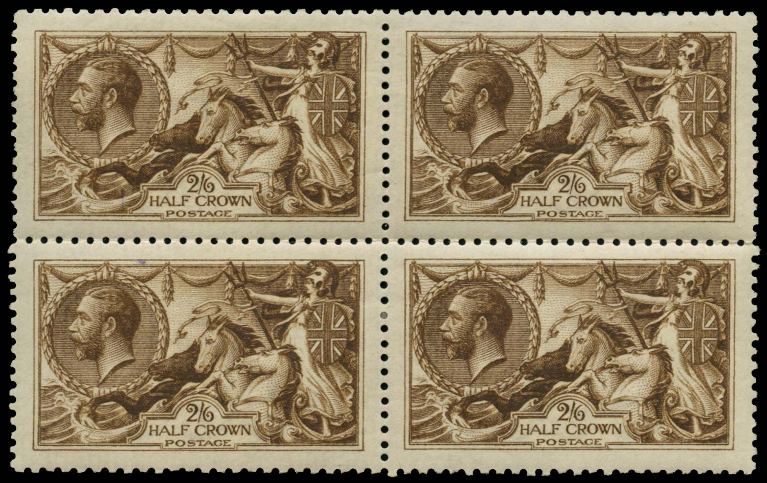GB 1915  SG405 Mint Deep yellow brown block of four