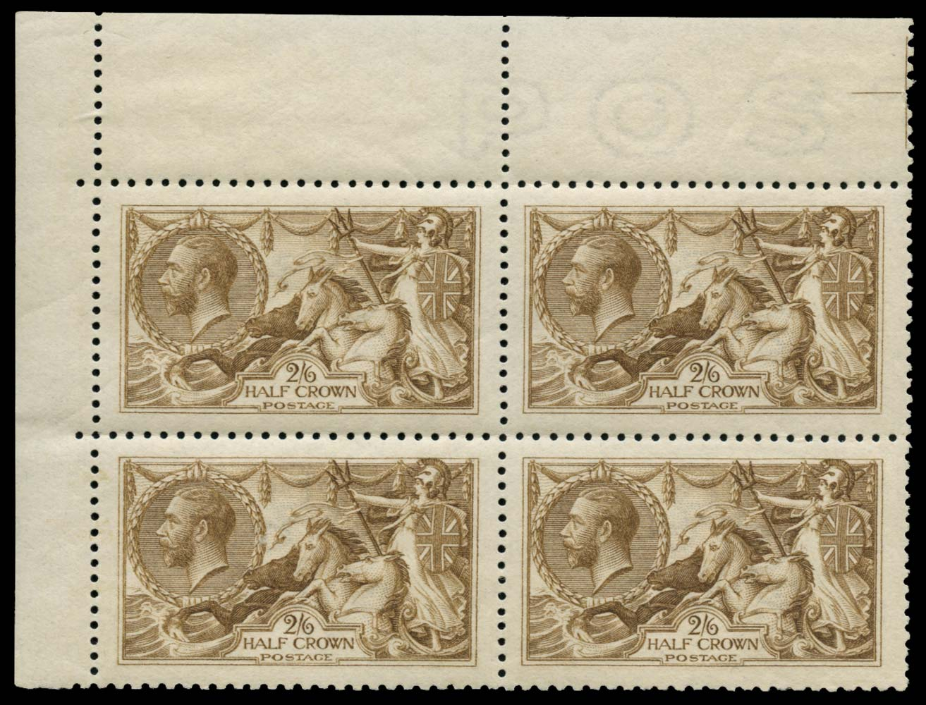 GB 1915  SG406 Mint Pale yellow brown M/M block of four
