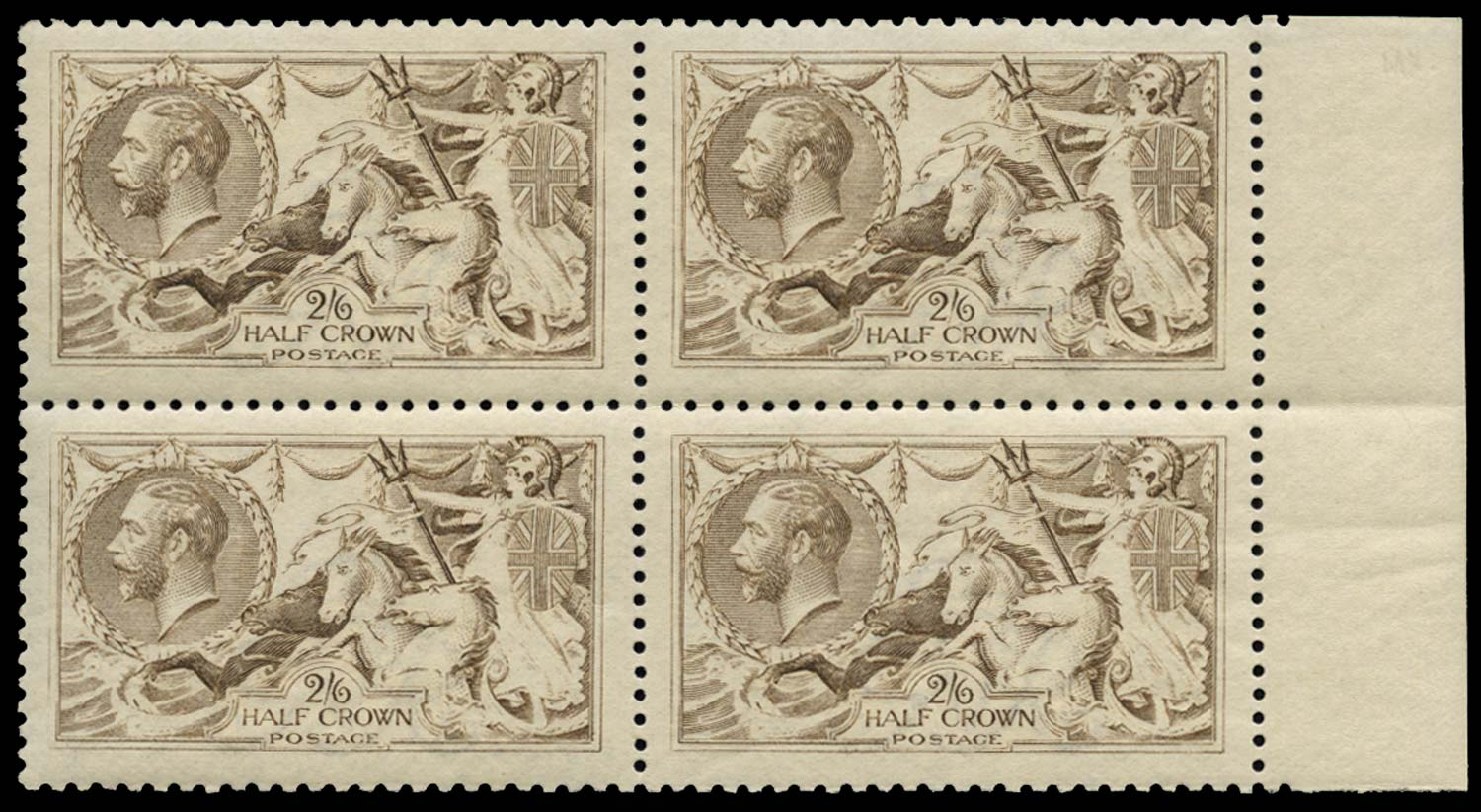 GB 1915  SG407 Mint Grey-brown (Worn plate) M/M block of four