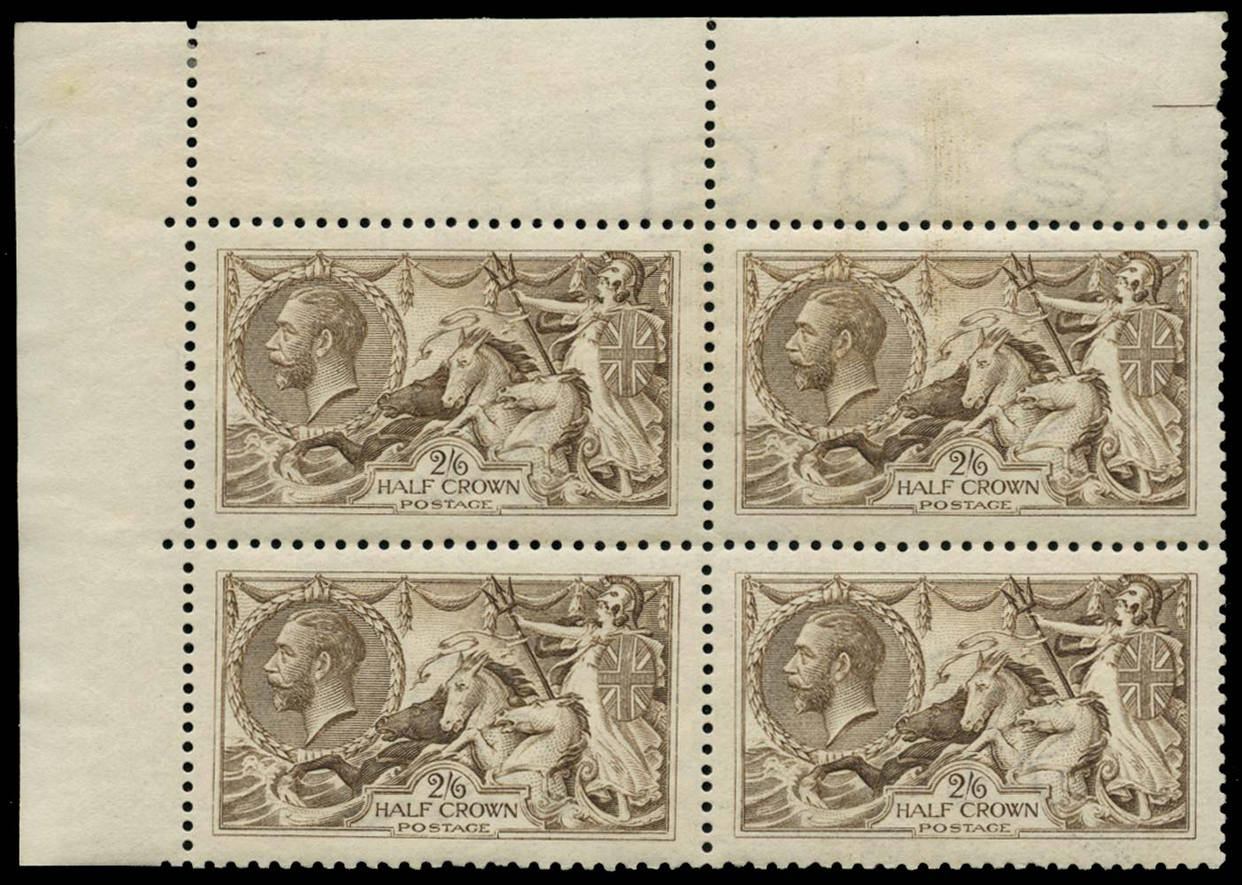 GB 1915  SG407a Mint Grey-brown block of four major re-entry