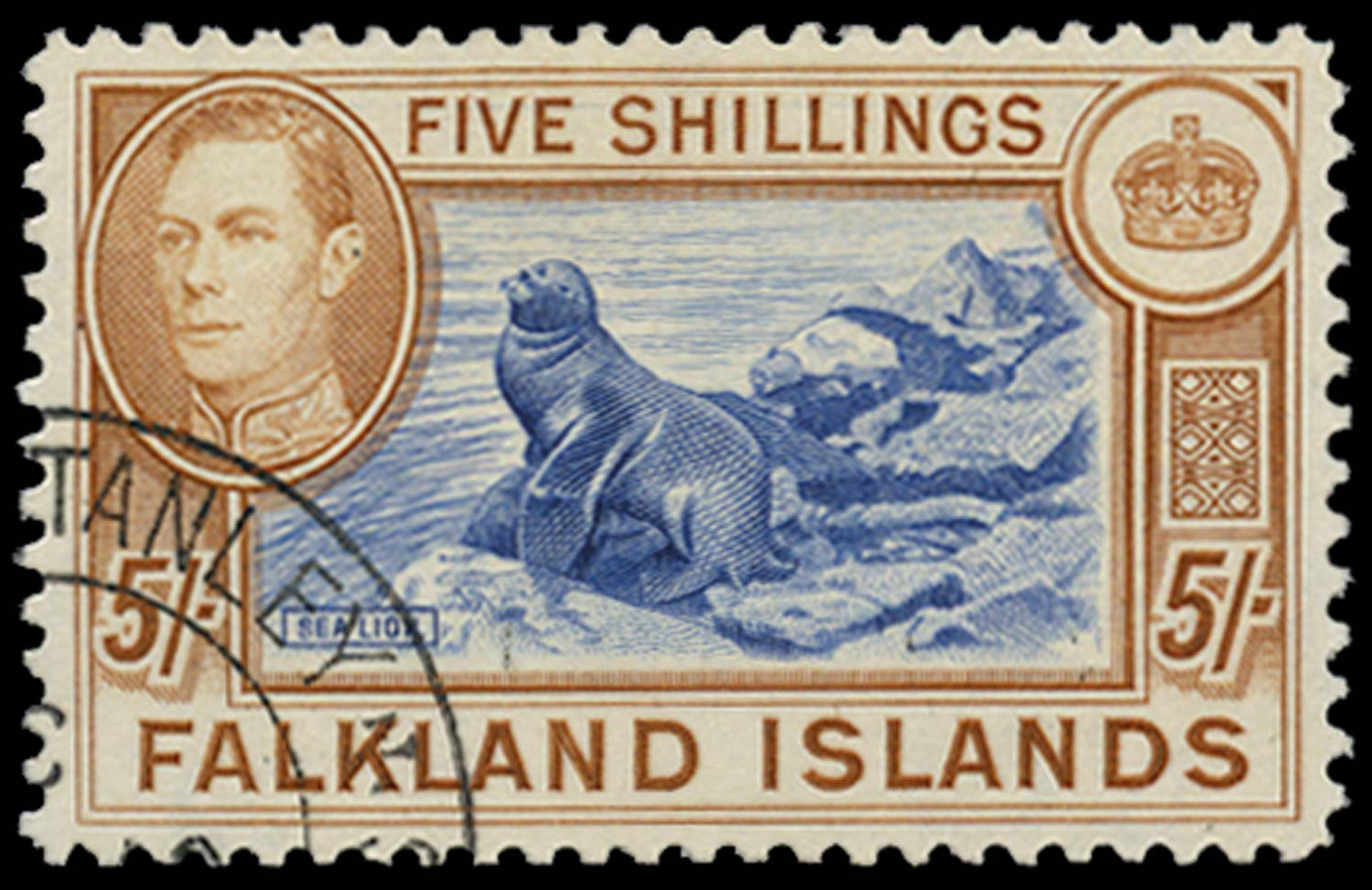 FALKLAND ISLANDS 1937  SG161 Used 5s blue and chestnut