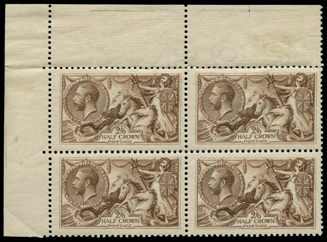 GB 1918  SG414 Mint block of four re-entries on ribbed paper