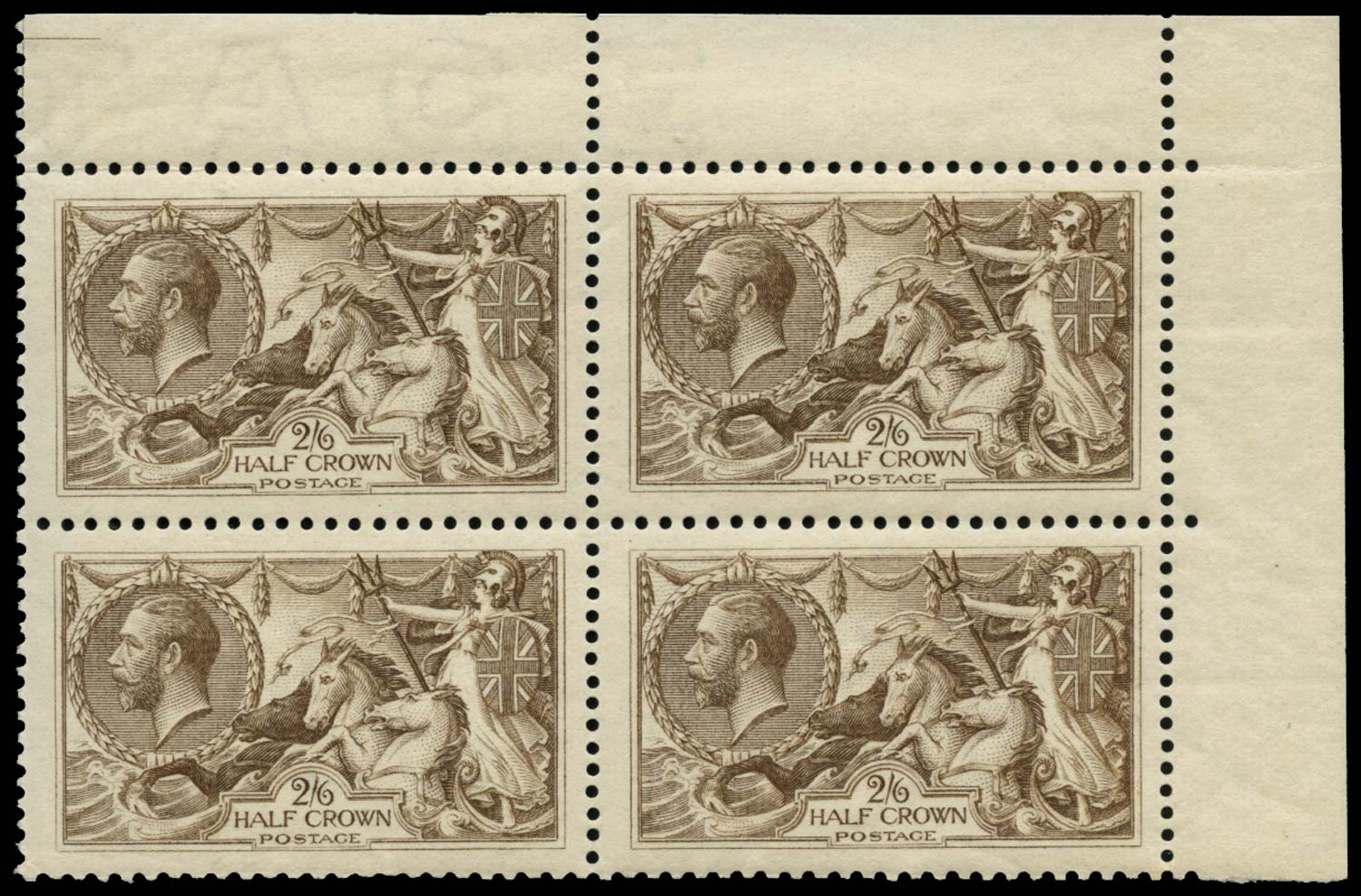 GB 1918  SG413a var Mint block of four showing re-entry