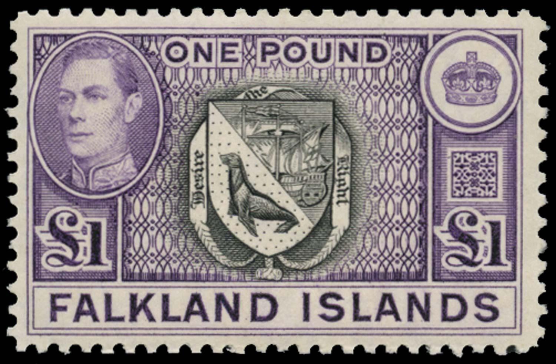 FALKLAND ISLANDS 1938  SG163 var Mint £1 black and reddish violet