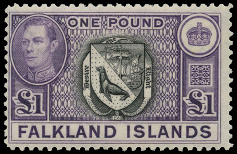 FALKLAND ISLANDS 1938  SG163 var Mint £1 black and bright violet on thin paper