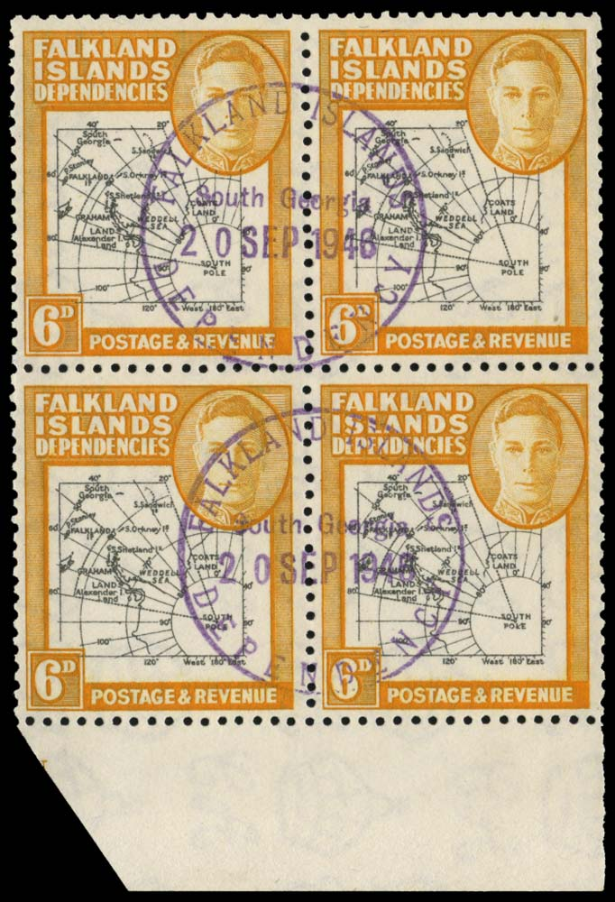 FALKLAND ISLAND DEPS 1946  SGG6e/ec Used Thick Map 6d ochre South Poke