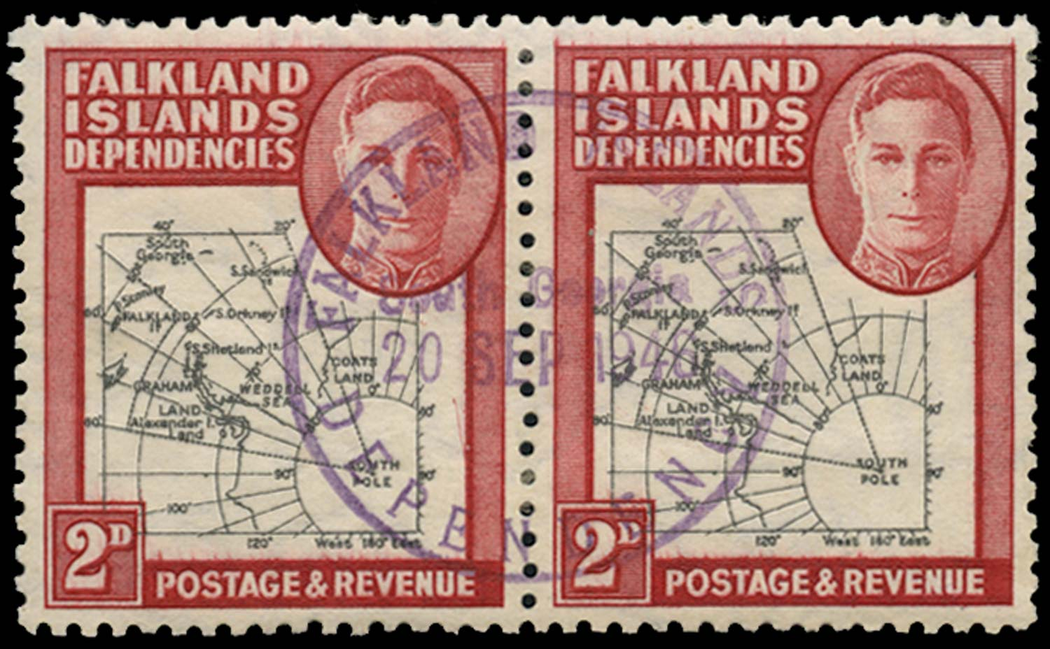 FALKLAND ISLAND DEPS 1946  SGG3b Used Thick Map 2d Missing I