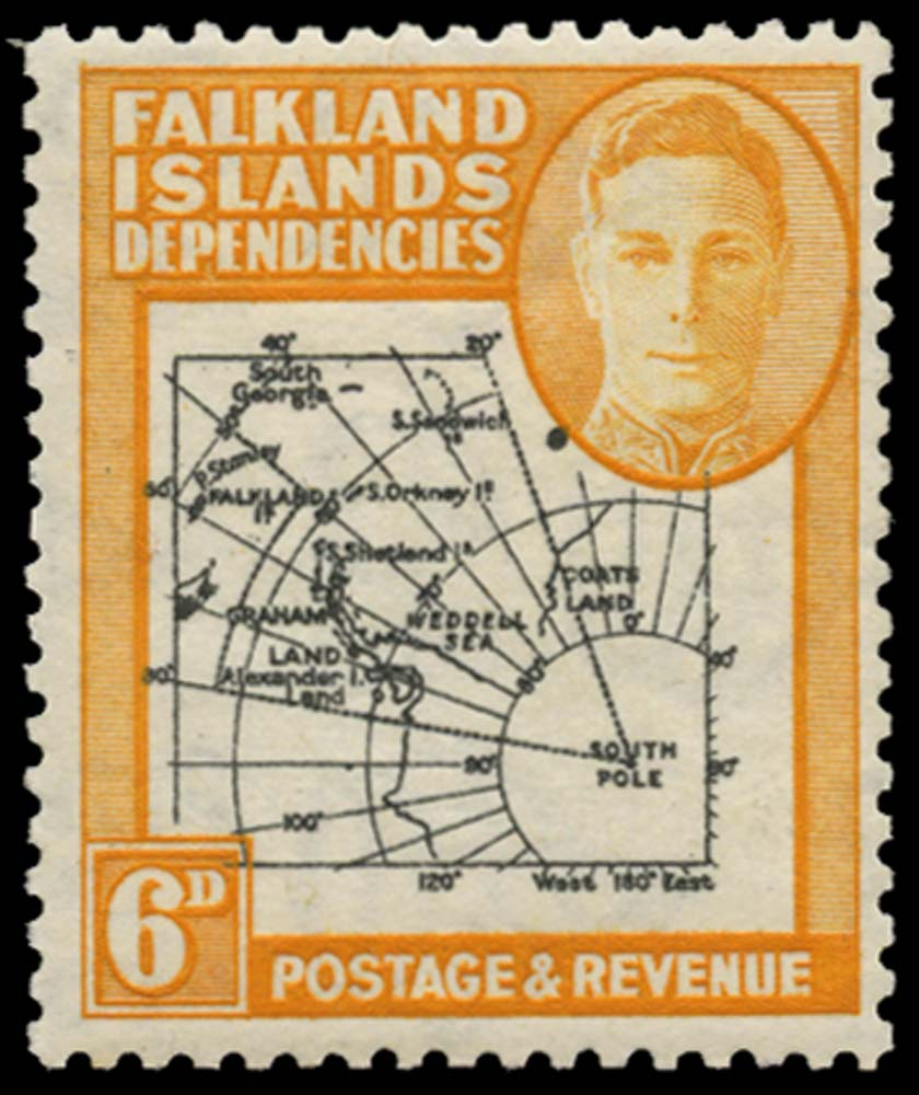 FALKLAND ISLAND DEPS 1946  SGG6d Mint Thick Map 6d Extra Dot by Oval