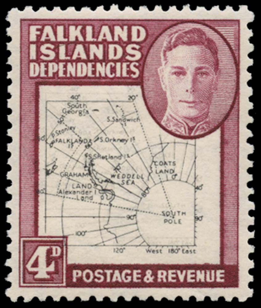 FALKLAND ISLAND DEPS 1948  SGG13 var Mint Thin Map 4d map printed double
