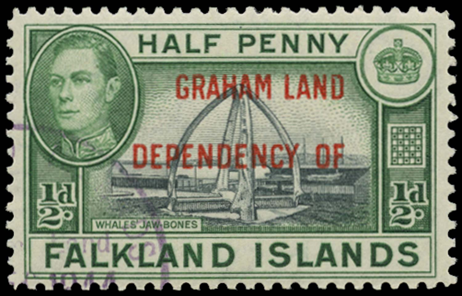 FALKLAND ISLAND DEPS 1944  SGA1a Used Graham Land ½d blue-black and green