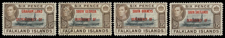 FALKLAND ISLAND DEPS 1944  SGA6a/D6a Used 6d opts blue-black vignette