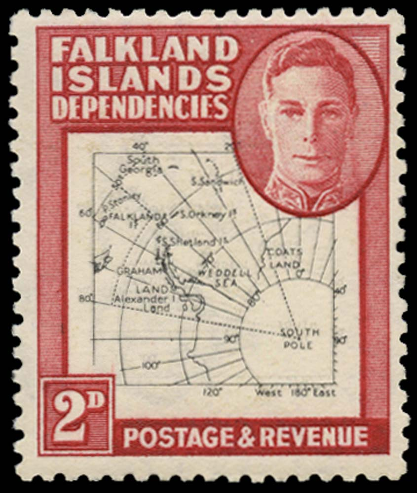 FALKLAND ISLAND DEPS 1948  SGG11 var Mint Thin Map 2d map printed double