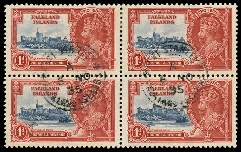 FALKLAND ISLANDS 1935  SG139e Used 1d Double flagstaff