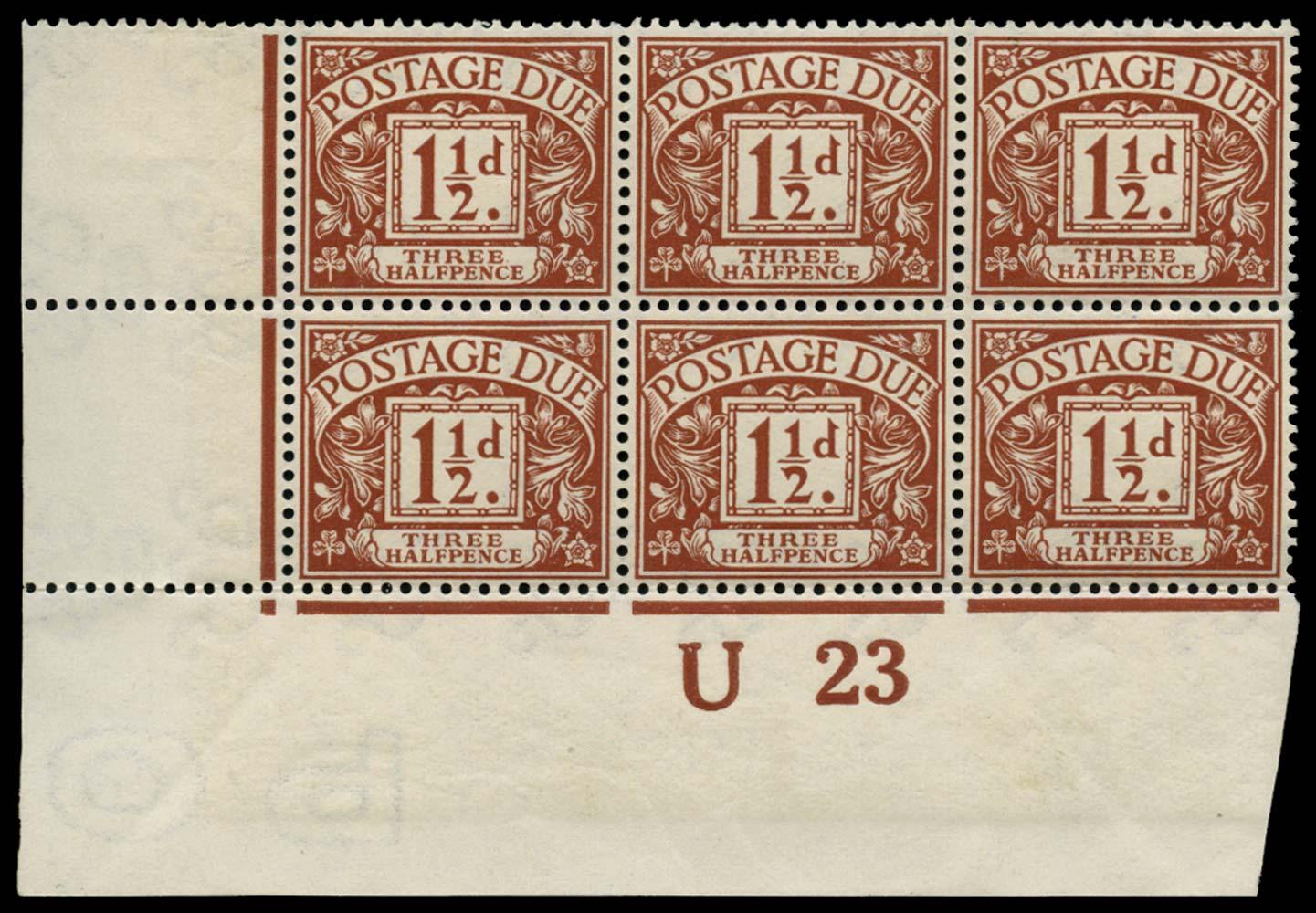 GB 1923  SGD3wi Postage Due Wmk. Sideways inverted U23 control