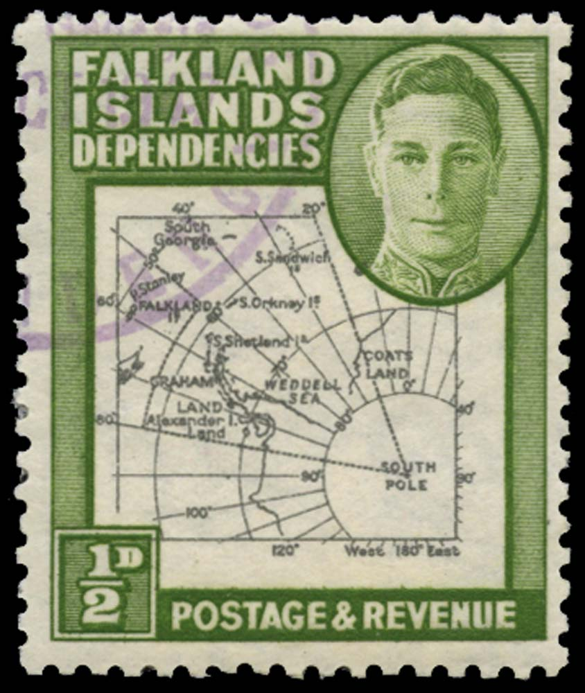 FALKLAND ISLAND DEPS 1946  SGG1d Used Thick Map ½d Extra Dot by Oval