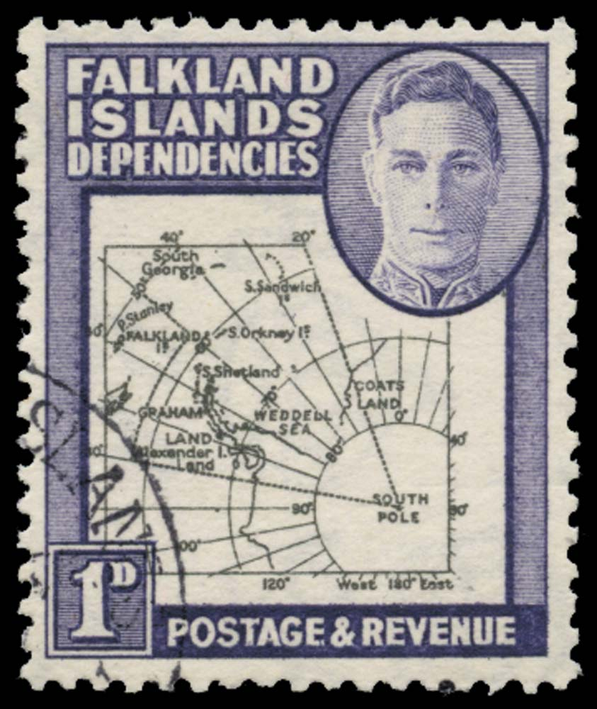 FALKLAND ISLAND DEPS 1946  SGG2b Used Thick Map 1d Missing I
