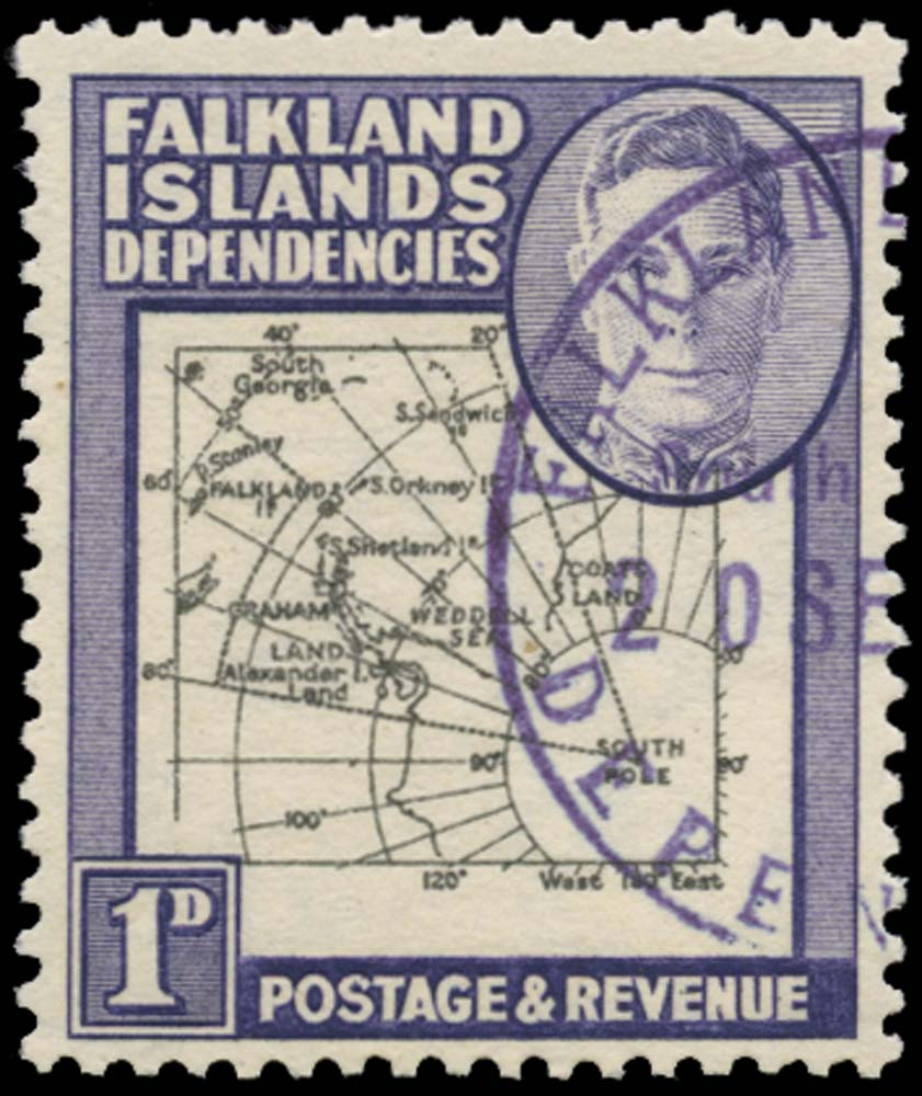 FALKLAND ISLAND DEPS 1946  SGG2aa Used Thick Map 1d Extra Island